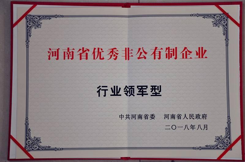 河南省优秀非公有制企业(行业领军型)